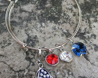 Assorted bangle bracelets with swarovski accents