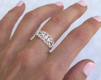 Sterling Silver Ring, Silver Spiral Ring, Silver Ethnic Ring, Silver Band Ring, Silver Lace Ring