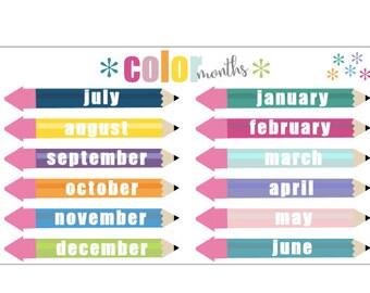 Pencil Color Months