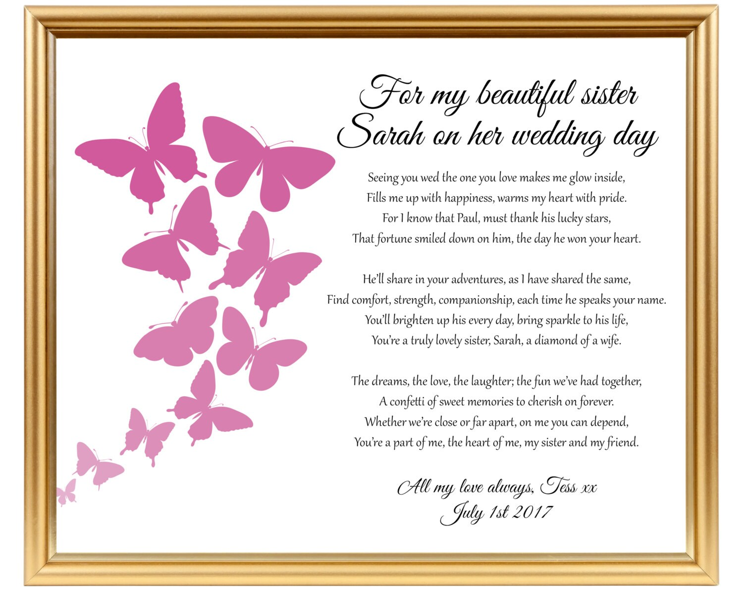 Perfect Wedding Gift For Sister: Sister Wedding Gift Wedding Gift Poem For Sister Gifts For