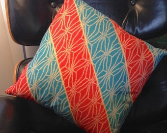 Japanese Cotton Print Red and Blue Diagonals Reversible Throw Pillow