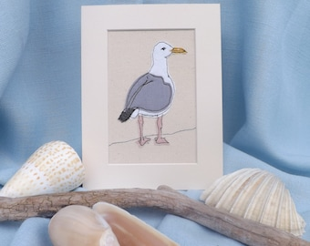 Herring Gull seagull applique embroidery textile art
