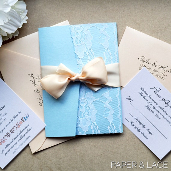SOFIA - Powder Blue and Blush Lace Wedding Invitation - Lace Pocket Invitation - Baby Blue Trifold Invitation with Pale Peach Ribbon