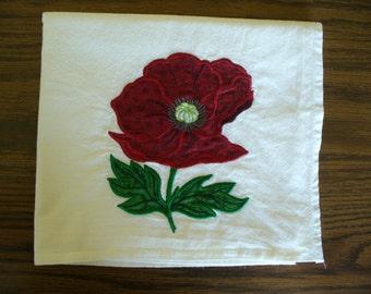 Red Poppy Realistic Applique Flower on Flour Sack Dishtowel