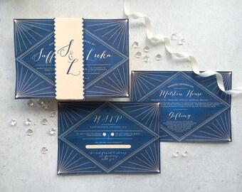 Saffia Elegant Classy Wedding Invitations - Modern Elegant Invitations - Fully Customisable - Set of 25 Printed Invitations