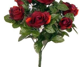 Burgundy Rose / Roses Posy Bouquet Silk