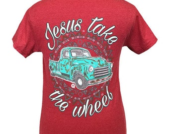 Girlie Girl Originals Jesus take the Wheel Heather Red Short Sleeve T-Shirt