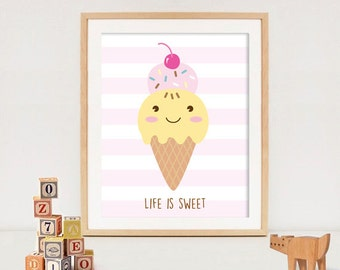 Nursery Art Print -Life is sweet- Baby Room Wall Art Set - Kids Room Decor - Printable Art Set - Ice-cream art