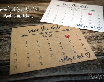 Rustic Calendar Save-the-Date Cards | A2 Wedding Announcement Cards | Kraft & White Available | Edge Styling