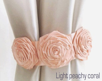 Curtain tie back,1pcs,Coral Flower curtain tie backs,Shabby chic curtains, Coral Curtain Tie Back,Baby Nursery Decor,Coral Home Decor