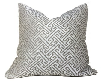 "Designer Greek Key Geometric Taupe Beige Upholstery Pillow Cushion Zipper Cover, Fits 16"" 18"" 20"" 22"" 24"" Inserts"