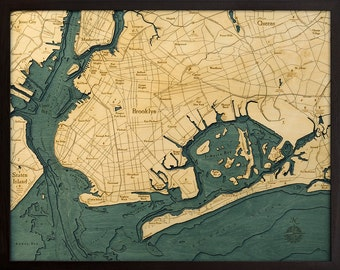 Wood Chart of Brooklyn, New York, 24.5x31 - Large