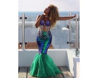 Mermaid Costume Adult - Green Iridescent Sequin Mermaid Tail