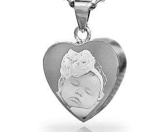 Photo Engraved Heart Pendant Stainless Steel Cremation Jewellery
