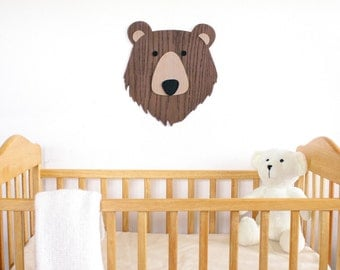 Nursery Wall Art. Kids Room Decor Art. Wooden Bear Art. Animal art. Nursery Decor. Wooden Sign. Baby Gift