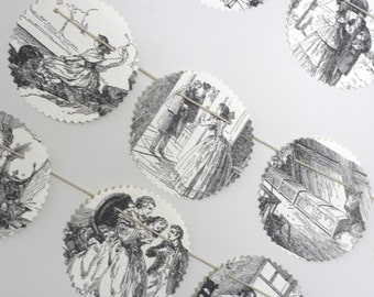 Little Women Black and White Victorian Print Paper Bunting Banner Pennant Garland