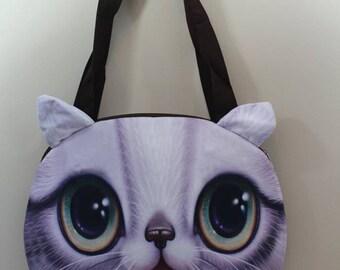 3 D cat face tote bag (c5)