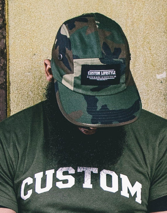 Custom lifestyle raw edge front patch five panel hat in fatigue