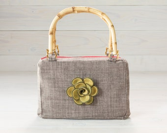 Grey Purse with Green Felt Rose Flower and Bamboo Handles