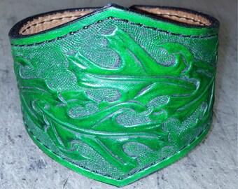 Oak leaf leather cuff