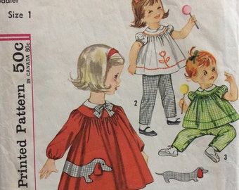 Simplicity 4753 girls dress or top and pants size 1 vintage 1960's sewing pattern