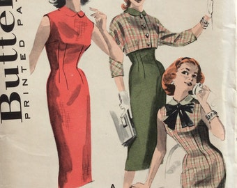 Butterick 8213 vintage 1950's misses wiggle dress & jacket sewing pattern size 12 bust 32
