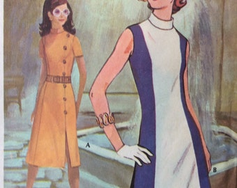 CLEARANCE!!  McCall's 2754 Post B misses colorblock dress size 14 bust 36 vintage 1970's sewing pattern