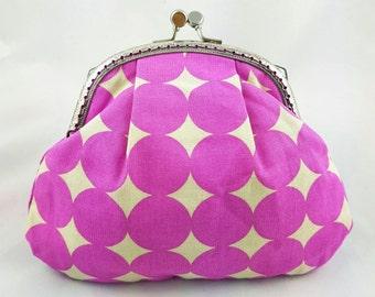 Coin purse/make up bag/clutch - purple circle
