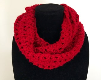 Ravishing Red Handmade Cowl Scarf