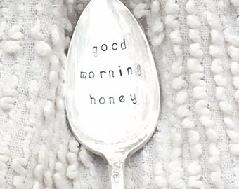 hand stamped silver honey spoon - good morning honey