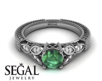 Emerald Engagement Ring White Gold Green Emerald Ring Art Deco Ring Leaf Ring Vintage Ring Green Emerald Engagement Ring - Adeline