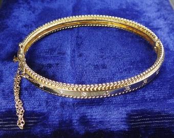Vintage 14k Diamond Bracelet Vintage Diamond Bangle Bracelet Heavy Yellow Gold and Diamond Bracelet Hinged Bangle