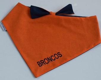 Denver Broncos NFL Team Spirit Dog Bandana || Classic Tie Pet PupDana || Ready to Ship Personalized Puppy Gift || Three Spoiled Dogs