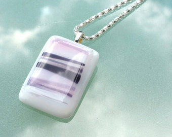 Necklace pink fusing glass handmade fusing glass