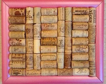 Pink Framed Wine Cork Notice Board / Corkboard /Pinboard