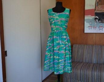 Womens 1960s 70s Malia of Honolulu Flower Field Sun Dress Size M