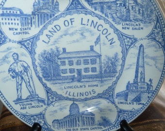 Vintage plate  Land of Lincoln Illinois
