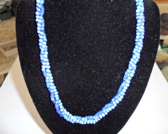 Three Twisted Strands of Blue Glass Beads Necklace