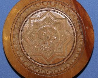 Vintage Ornate Carved Wood Powder Compact Case