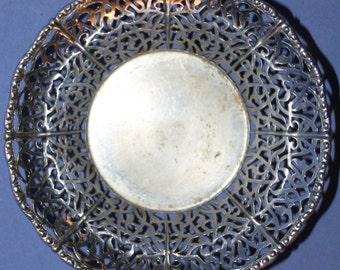 Vintage Small Ornate Metal Mesh Bowl