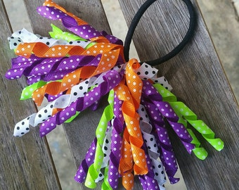 Halloween Colorful Streamer Ponytail band
