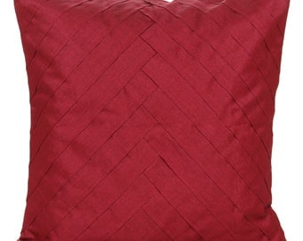 Solid Ruby Red Pillow Cover Pleated Ruby Red Accent Pillow Solid Ruby Red Euro Sham 14x14 16x16 18x18 20x20 22x22 24x24 26x26