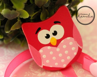 Pacifier clip - pink owl