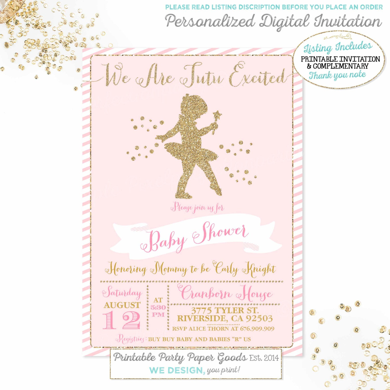ballerina baby shower invitation pink and gold baby shower