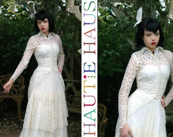 Vintage 50s Ivory Lace & Tulle Wedding Dress Gown Bride Retro Alternative Goth Bride Elegant Strapless LongTrain Mid Century Petite XS XXS