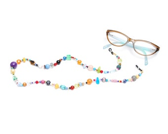 RandomJane short glasses chain colorful beaded hippie boho random style summer accessory for kids, eye and sun glasses made in Vienna