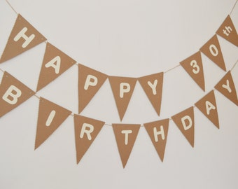 Custom Happy Birthday Bunting, Birthday Banner, 30th, 40th, 50th, 60th Birthday Party Decoation, Rustic Bunting, Children's Birthday