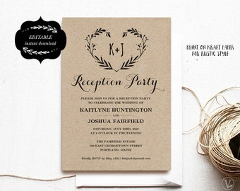 Wedding Reception Party Invitation Template, Kraft Reception Card, Instant DOWNLOAD - EDITABLE Text - 5x7, RP005, VW08