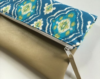 Blue and Green Geometric Fold Over Clutch, Clutch Purse, Vinyl Fold Over Clutch