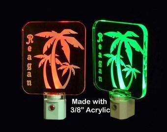 Personalized Palm Tree LED Night Light - Palm Trees, Lamp